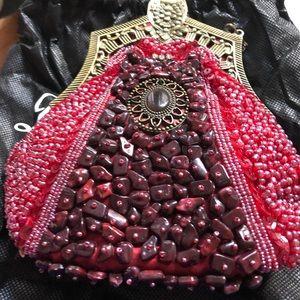 Red Art Deco 1920's Sequin handbag